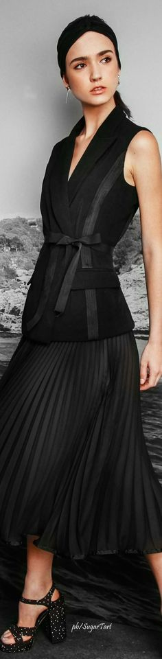 Nicole Miller ~ Black Pleated Dress Resort 2017