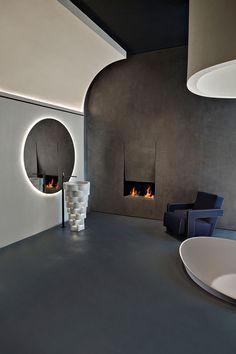 An Interview with Italian Design Duo Calvi Brambilla Latest Bathroom Designs, Design Bathroom, Showroom Design, Ceiling Design, Office Interiors, Retail Design, Interiores Design, Lounges, Home Design