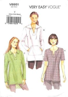 VOGUE 8951 - FROM 2013 - UNCUT - MISSES TUNIC