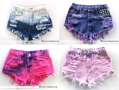 old jeans getting beautified ! - My Style - Shorts Dip Dye Shorts, Diy Shorts, Modest Shorts, Long Shorts, Teen Fashion Outfits, Diy Fashion, Girl Outfits, Tomboy Outfits, Emo Outfits