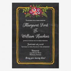 Chalkboard Blossom Wedding Invitations www.lovevsdesign.com