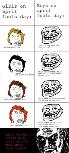 Girls Vs Boys on April Fools Day 2014 Pranks, Jokes Ideas Troll Face Harmless Pranks, Funny Pranks, Pranks April Fools Day, Pranks For Kids, Troll Face, Rage Comics, Gag Gifts, The Fool, Funny Quotes