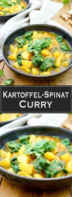 Kartoffel-Spinat-Curry - One Pot Rezept, vegan, vegetarisch, glutenfrei, gesund und einfach, Asiatisch, Indische Curry mit garam masala, turmeric