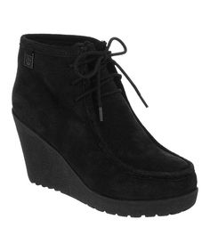 Take a look at this Black Suede Astoria Wedge Boot - Women on zulily today!