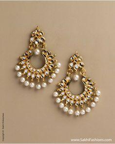 Kundan Earring Kundan like Stones, Faux Pearl, Copper Metal Indian Accessories, Jewelry Accessories, Jewelry Design, India Jewelry, Ethnic Jewelry, Gold Jewelry, Indian Earrings, Pearl Earrings, Diamond Earrings