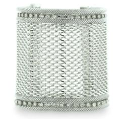 Wide Silver Tone Mesh Massive 3 Inch Cuff Bracelet with A Row Of Fiery Rhinestone Crystals, Fits 6.5 To 8 Inch Wrist SuperJeweler. $19.99. FREE international shipping for this item!