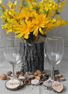 Check out this item in my Etsy shop https://www.etsy.com/listing/241314466/tree-branch-log-vase-flowers-rustic-log