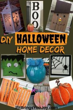 Easy DIY fall and Halloween decoration ideas. Decorations for your porch, table, mantle or wherever! If DIY isn't your think, enjoy the inexpensive purchase ideas. #Falldecor Diy Halloween Home Decor, Diy Halloween Dekoration, Halloween House, Halloween Crafts, Halloween Decorations, Fall Crafts, Diy Crafts, Family Fun Night, Hobbies To Try