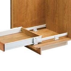Slides mount directly to floor or cabinet base. Each slide creates a 2-5/8 Drawer Hardware, Home Hardware, Tools Hardware, Kitchen Pull Out Drawers, Kitchen Storage, Home Renovation, Home Remodeling, Wood Drawer Slides, Drawer Rails