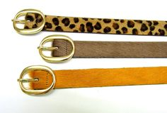 Modern and classic women belt. Made of beautiful soft cow hair leather. Many solid Colors or printed Options are available.