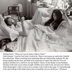 Rolling Stones magazine interview John Lennon on why he cannot be without Yoko Ono Citation John Lennon, John Lennon Quotes, Peggy Guggenheim, Robert Mapplethorpe, Keith Haring, Studio 54, John Lennon Interview, Yoko Ono Quotes, Cultura Rave