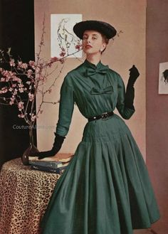 Jacques Fath dress, 1953. Love the double bows and shade of cool, almost pine…