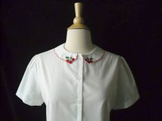Vintage Strawberry Peter Pan Collar Blouse by Baxtervintage, $30.00