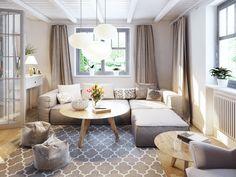 Przytulny salon w ciepłych naturalnych kolorach
