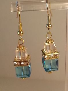 'Gold Plated Swarovski Crystal Cube Earring In Aquamarin' is going up for auction at  4pm Thu, Jun 13 with a starting bid of $1.