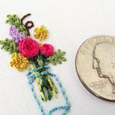 Morning! On my blog today I have a tutorial up for creating tiny embroidery. The finished piece fits into a @dandelyne mini hoop to make a beautiful necklace. Check it out at RandomActsofAmy.com {link in profile}
