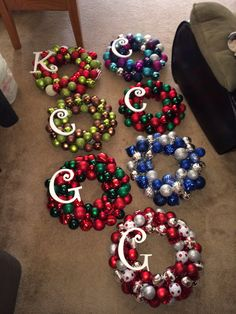 Ornament wreaths I made! Great DIY Christmas gifts :) (Christmas Crafts For Gifts) Noel Christmas, Diy Christmas Gifts, Christmas Projects, Winter Christmas, Christmas Ornaments, Cheap Christmas, Homemade Christmas Wreaths, Christmas Quotes, Diy Christmas Frames