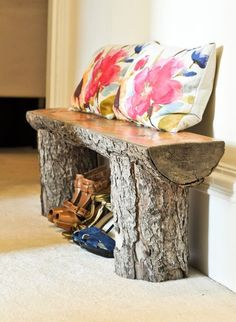 Beautiful bench made out of salvaged logs. Perfect for outdoor use but gives a twist to this interior too ! ++Pics from here