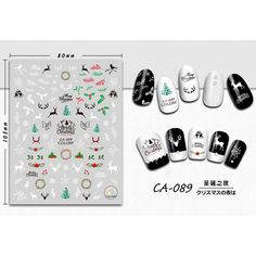 1pcs 3d Nail Sticker Christmas Elk Colorful Mixed Cartoon Designs Charming Adhesive Wraps Tips Decor Manicure SACA082-090