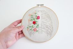Floral Rib Cage Embroidered Hoop Art by MeowDesignsNz on Etsy