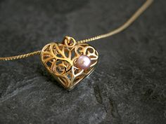 Mother Daughter Gift for Mom Heart Necklace Gold by gazellejewelry, $58.00