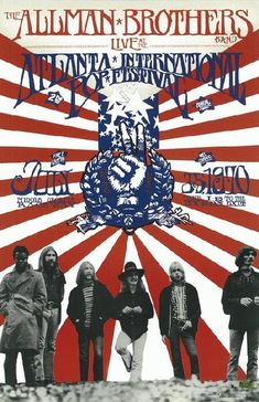 Promo poster for The Allman Brothers Band recording of their concert at The Atlanta International Pop Festival in Atlanta, GA in 1970. 11 x 17 inches on card stock.