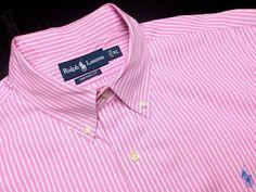 RALPH LAUREN Men's XL Custom Fit Pink White Striped Long Sleeve Button-Down Shirt #RalphLauren | Men's Fashion & Style | Shop Menswear, Men's Clothes, Men's Apparel & Accessories at designerclothingfans.com