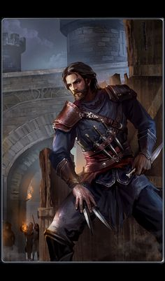 Pirro Sykes carries lots of knives similar to this guy. Bhronn, the rogue, thief, shadow warrior, DnD, D&D, RPG