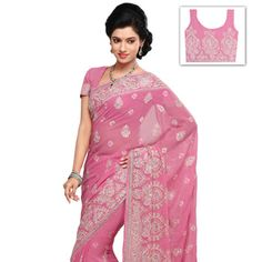 Light Pink Faux Chiffon Saree with Blouse Online Shopping: SRH187