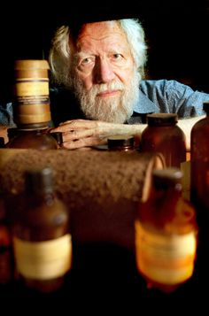 My photo of Alexander Shulgin author of #PiHKAL and #TiHKAL (#phenethyalmines and #tryptamines I have known and loved) as well as credited with introducing #mdma to psychologists, at his lab. I love the old chemical bottles.