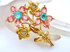 Vintage Pink Rhinestone Flower Brooch Gold Large Pin Channel Prong Set High End | eBay