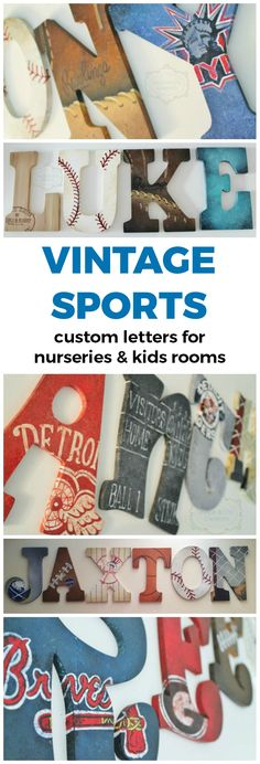 Vintage Varsity Sports Themed Hand Painted Personalized Wooden Letters for Nursery, Bedroom, or Party | Unique and Chic Creations custom kids room letters