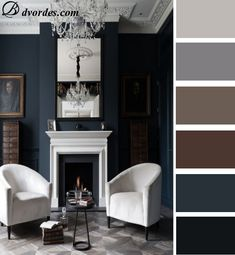 This is the living room made in dark blue and darkened colors with bright contrast which is made by using white furniture.