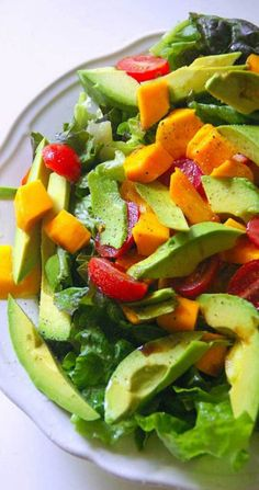 This easy to prepare Avocado Mango and Tomato Salad brings to mind all of the beautiful, fresh, and tropical flavors of South America. Print Avocado Mango and Tomato Salad Category: Salad This easy to prepare Avocado. Healthy Recipes, Avocado Recipes, Salad Recipes, Healthy Snacks, Vegetarian Recipes, Healthy Eating, Cooking Recipes, Detox Recipes, Summer Recipes