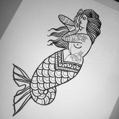32 Ideas Tattoo Old School Sirena Traditional Mermaid Tattoos, Traditional Tattoo Art, Traditional Ink, American Traditional, Black Tattoos, New Tattoos, Girl Tattoos, Temporary Tattoos, Tatoos