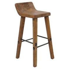 """This elm wood barstool is perfect for sitting at the kitchen island and enjoying your morning coffee, but it'd be just as great placed in your sunroom as a spot to rest a potted succulent.    Product: BarstoolConstruction Material: Elm woodColor: Natural Dimensions: 35"""" H x 18"""" W x 15"""" DCleaning and Care: Please do not use harsh chemicals"""
