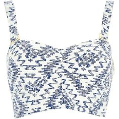 River Island Blue and white printed bralet ($30) ❤ liked on Polyvore featuring tops, shirts, crop tops, bralets, blue, sale, sweetheart crop top, bralet crop top, bralette tops and bralette crop top