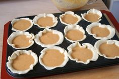 Mini Pumpkin Pies  pumpkin pie filling for one 9-inch pie 2 9-inch pie crust doughs – pre-made from a box or I love this recipe from Martha Stewart bowl or round cookie cutter 4 inches in diameter muffin tin whipped cream Makes 12 mini pumpkin pies  1. Prep your dough. Using a bowl or 4 inch round cookie cutter, cut out 12 circles from y