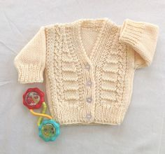 Babies knit cardigan, Baby shower gift, Baby sweater.