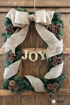 DIY Rectangle Joy Wreath