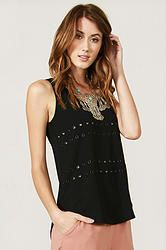 Hardware Top: Black tank top with a grommet detail in the front.