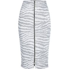 Grey zebra print zip front pencil skirt - tube / pencil skirts - skirts - women