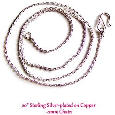 MERZIEs sterling silver plated copper link chain with S-Clasp necklace for pendant #4 by merzies on Etsy https://www.etsy.com/listing/200882549/merzies-sterling-silver-plated-copper
