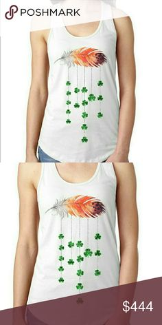 Coming soon! St Patrick's boho feather tank Racerback Materials: 60% combined ringspun cotton 40% polyester Boho Gypsy Sisters Tops Tank Tops
