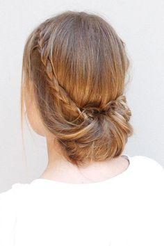 Crown braid with bun