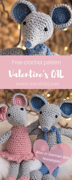 Crochet Amigurumi Patterns Free crochet pattern for this sweet mouse. - Find the free pattern for this adorable amirugumi mouse on Yarnhild. This is the second part of our Valentine's CAL and this is the free pattern for Malvin the amirugumi mouse. Chat Crochet, Crochet Cat Toys, Crochet Animal Amigurumi, Crochet Cat Pattern, Crochet Gratis, Crochet Mouse, Crochet Amigurumi Free Patterns, Crochet Baby Hats, Crochet For Kids