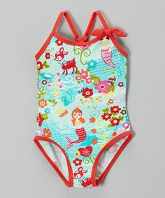 Loving this Aqua Mermaid One-Piece - Toddler & Girls on #zulily! #zulilyfinds