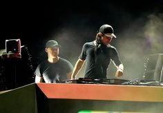 INDIO, CA - APRIL 22: DJs Diplo (L) and Skrillex of Jack �� perform onstage during day 1 of the 2016 Coachella Valley Music & Arts Festival Weekend 2 at ...
