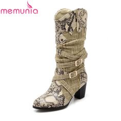 (27.00$)  Watch here  - 2017 autumn new arrival popular snakeskin mid calf boots for women thick high heels buckle casual fall platform printing shoes