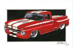 Dave Kindig's Concept Drawings, his shop turns out some very nice custom cars. Hot Rod Trucks, Cool Trucks, Pickup Trucks, Cool Cars, Custom Trucks, Custom Cars, Classic Chevy Trucks, Classic Cars, Pinstriping